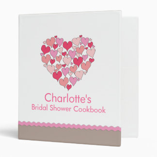 Lots of Hearts Bridal Shower Recipe Cookbook Binder