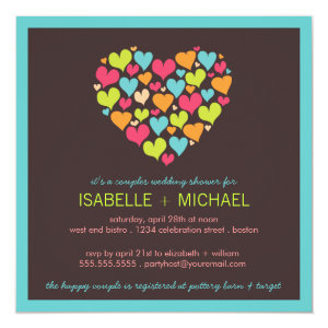 Lots of Hearts Couples Wedding Shower Invitation 5.25