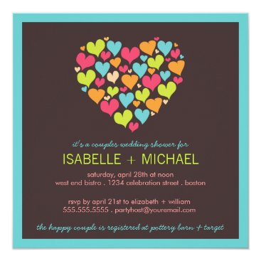 Valentines Themed Lots of Hearts Couples Wedding Shower Invitation