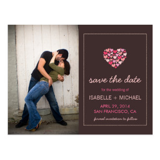 Lots of Hearts Love Save the Date Postcard
