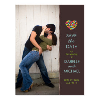 Lots of Hearts Love Teal Save the Date Postcard