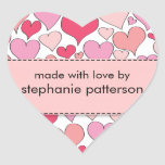 Lots of Hearts Made with Love By Sticker