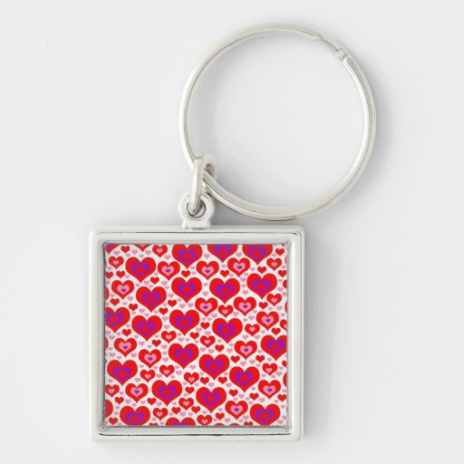 Lots of Hearts Silver-Colored Square Keychain