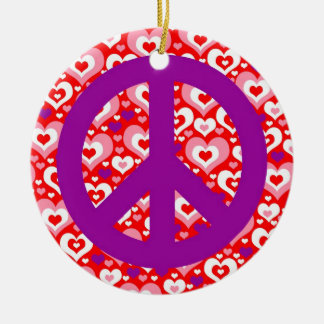 Lots of Hearts Valentine's Day Peace Sign Ornament