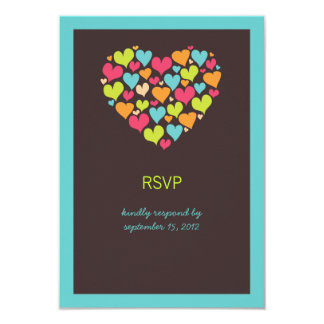 "Lots of Hearts Wedding RSVP Card 3.5"" X 5"" Invitation Card"