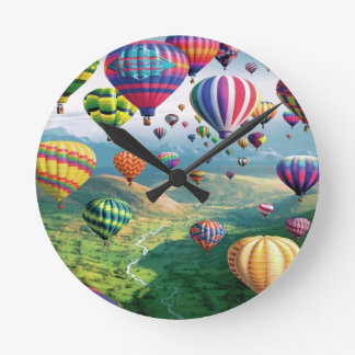 Lots of Hot Air Balloons Round Medium Wall Clock