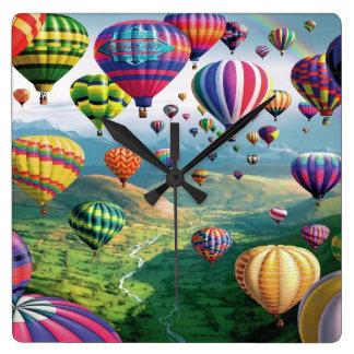 Lots of Hot Air Balloons Square Wall Clock