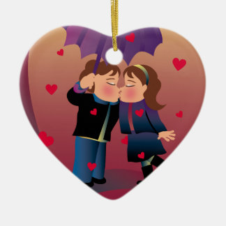 Lots of Kisses Double-Sided Heart Ceramic Christmas Ornament