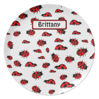 Lots of Ladybugs Personalized Name Dinner Plate