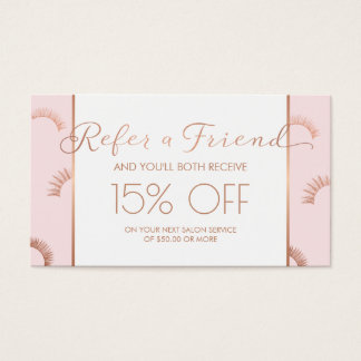 Lots of Lashes Lash Salon Pink/Rose Gold Referral Business Card