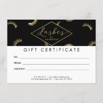 Lots of Lashes Pattern Black/Gold Gift Certificate