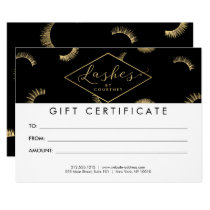 Lots of Lashes Pattern Black/Gold Gift Certificate Card