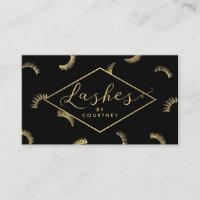 Lots of Lashes Pattern Lash Salon Black/Gold Business Card