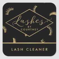 Lots of Lashes Pattern Lash Salon Black/Gold Square Sticker