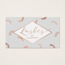 Lots of Lashes Pattern Lash Salon Gray/Rose Gold Business Card