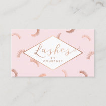 Lots of Lashes Pattern Lash Salon Pink/Rose Gold Business Card