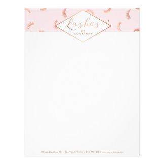 Lots of Lashes Pattern Lash Salon Pink/Rose Gold Letterhead