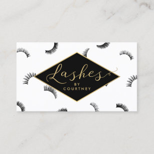 Salon business cards templates zazzle lots of lashes pattern lash salon whiteblackgold business card colourmoves