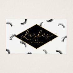 Lots of Lashes Pattern Lash Salon White/Black/Gold Business Card at Zazzle