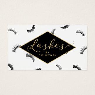 Lots of Lashes Pattern Lash Salon White/Black/Gold Business Card