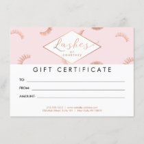 Lots of Lashes Pattern Pink/Rose Gold Gift Card
