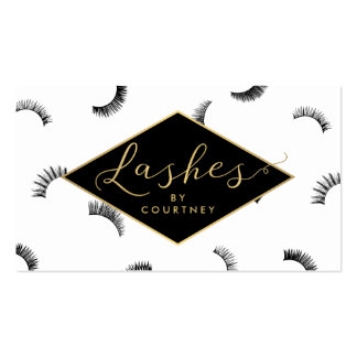 Lots of Lashes Pattern White/Black/Gold Business Card