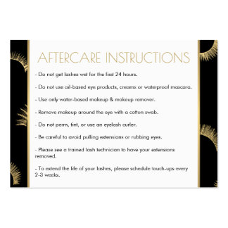 Lots of Lashes Salon Black/Gold Aftercare Card