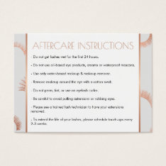 Lots Of Lashes Salon Gray/rose Gold Aftercare Card at Zazzle