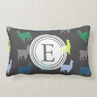 Lots of Llamas Pattern Monogram Lumbar Pillow