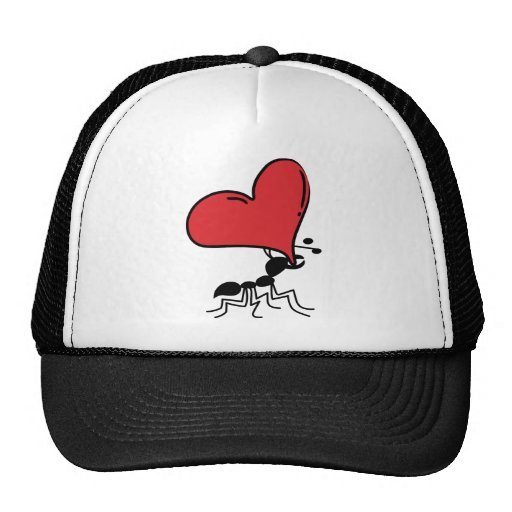 Lots of Love, Cute Ant Holding Huge Red Heart Mesh Hats