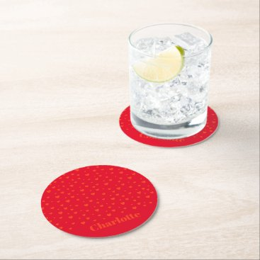 Lots Of Love Hearts Round Paper Coaster