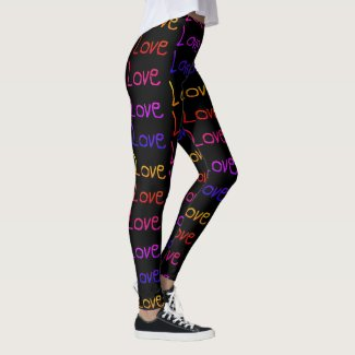 Lots of Love, Love, Love - Rainbow on Black Leggings