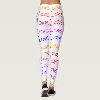 Lots of Love, Love, Love - Rainbow on White Leggings