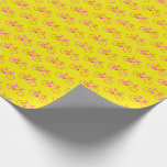 [ Thumbnail: Lots of Magenta Bicycle Shapes On Yellow Wrapping Paper ]