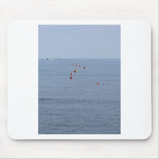 Lots of mooring buoys floating on water in marina mouse pad