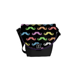 Lots of Mustaches (black) Courier Bag