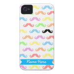 Lots of Mustaches (white) Customizable! iPhone 4 Covers