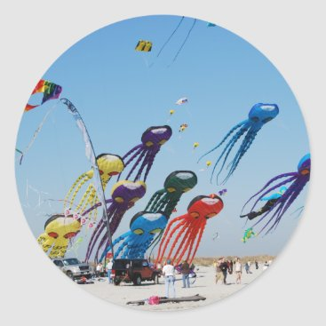Beach Themed Lots of Octopi Classic Round Sticker
