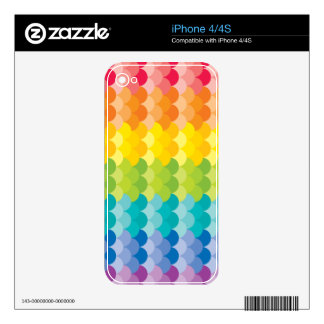 Lots of Painted Palette Rainbow Scallops Decals For iPhone 4S