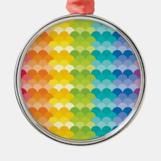 Lots of Painted Palette Rainbow Scallops Metal Ornament
