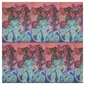 lots of pink and blue cats fabric