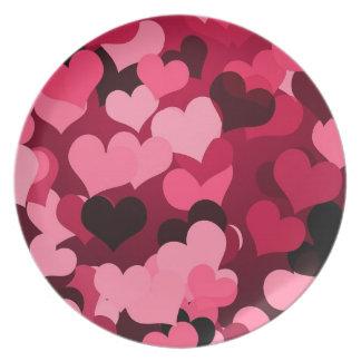 Lots of Pink Hearts, Cute Love Pattern Melamine Plate