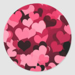 Lots of Pink Hearts, Cute Love Pattern Classic Round Sticker