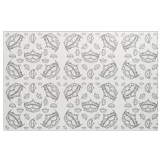 Lots of Queen of Hearts silver crowns tiaras Fabric