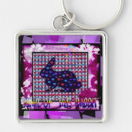 Lots of Rabbits Silver-Colored Square Keychain