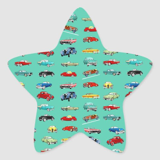 Lots of Retro Cars Star Sticker