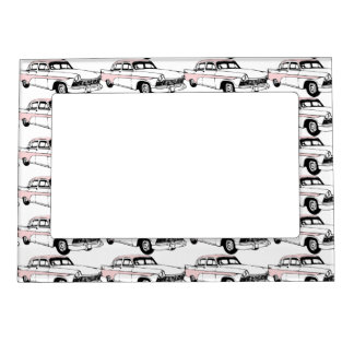 Lots of Vintage Pink Cars Magnetic Photo Frame