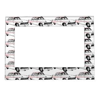 Lots of Vintage Pink Cars Magnetic Photo Frame