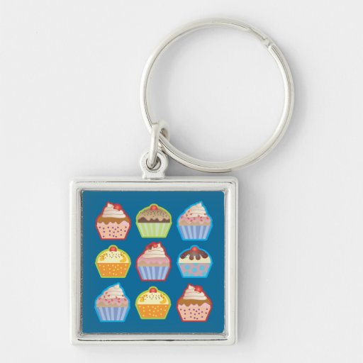 Lotsa Cupcakes Blue Keychain