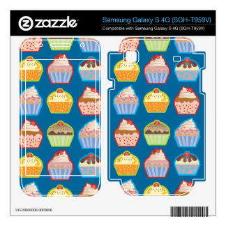 Lotsa Cupcakes Blue Samsung Galaxy S 4G Skins